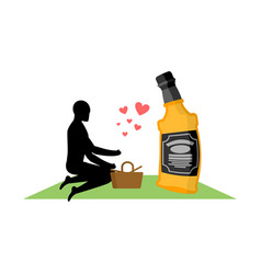 Lover alcohol drink man and bottle of whiskey on vector