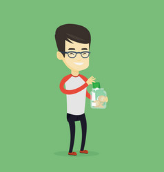 Man putting dollar money into glass jar vector