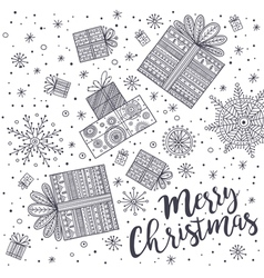 merry christmas greeting card with gift vector image