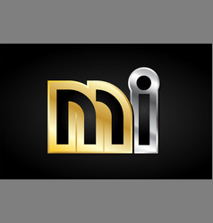 Mi gold silver letter joint logo icon alphabet vector