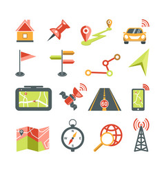 Navigation icons set for car navigator map vector