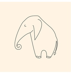 One line elephant vector