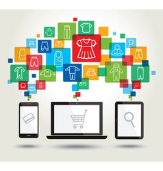 Online shopping and modern technology vector