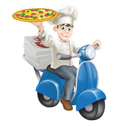 Pizza chef moped delivery vector