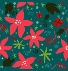 seamless floral pattern of hand drawn poinsettia vector image vector image