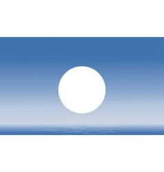 Seascape and moon silhouettes scenery vector