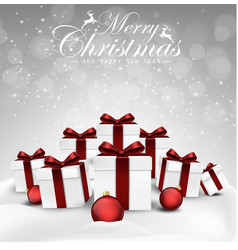 set of christmas decorations balls and gift box vector image