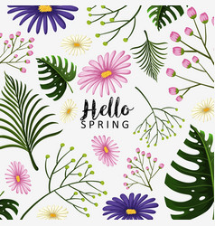 Spring theme with blue and pink flowers vector