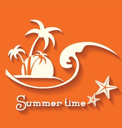 Summer time image with sea wave and tropical palm vector
