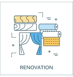 Thin line flat design of construction tools vector image vector image