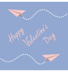 Two origami paper plane dash line in the sky frame vector