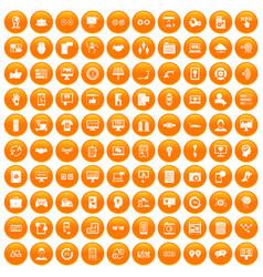100 interface icons set orange vector
