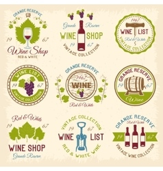 Wine shop colored emblems vector