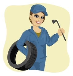 Working woman in car repair service holding tyre vector