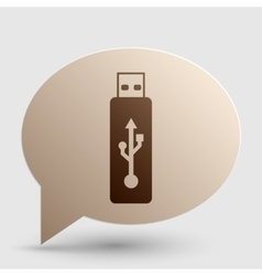Usb flash drive sign brown gradient icon vector