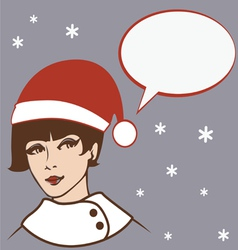 Pretty santa girl vector
