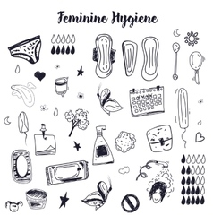 Sketch feminine hygiene big set with tampon vector