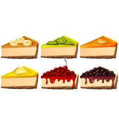 Set of cheesecake with different flavors vector