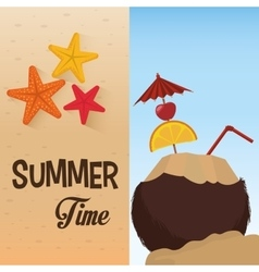 summer time cocktail coconut star sand beach vector image