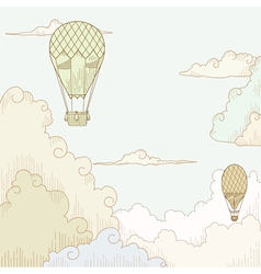Abstract background with balloon and clouds vector image