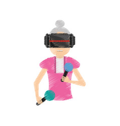 Drawing woman with vr glasses control vector