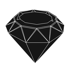 diamond icon in black style isolated on white vector image