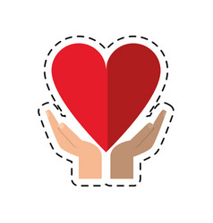 Cartoon hand holding heart healthcare vector