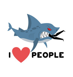 I love people shark eats man wild sea predator vector