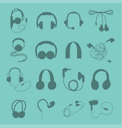 Headphones set music technology accessory vector