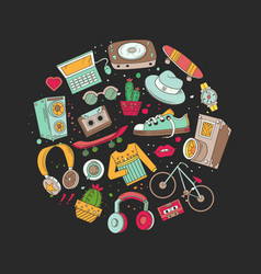 hipster collage vector image