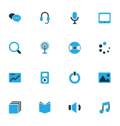 Media colorful icons set collection of chart vector