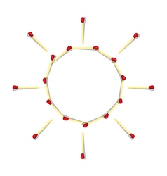 Sun symbol made from matches vector
