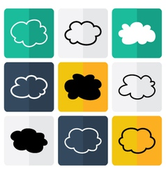 Black and white flat cloud icons vector