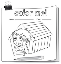 A worksheet with a doghouse and a boy vector