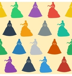 Seamless wedding background colorful silhouettes vector