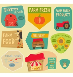 Farm stickers set vector
