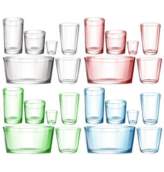 Set of glassware in different colors vector