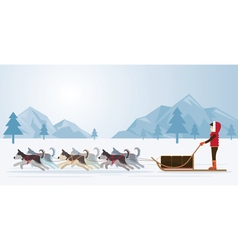 People with arctic dogs sledding panorama backgro vector