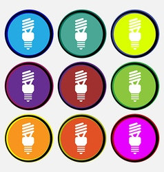 Fluorescent lamp icon sign nine multi colored vector