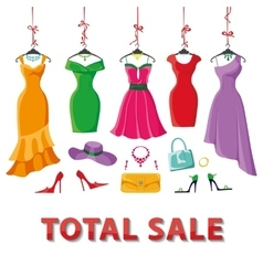Colored summer dresses and accessories setsale vector