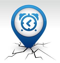 Alarm-clock blue icon in crack vector