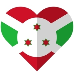 Burundi flat heart flag vector image vector image