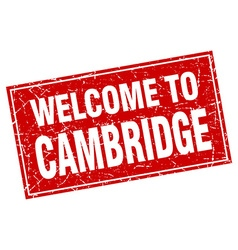 Cambridge red square grunge welcome to stamp vector
