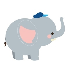 cute elephant cartoon with hat icon vector image