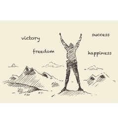 Drawn success climber man mountain sketch vector image vector image