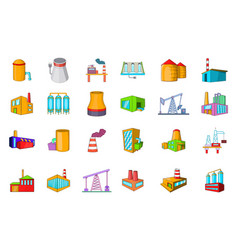 Factory icon set cartoon style vector