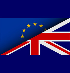 flags of eu and uk divided on half brexit theme vector image vector image