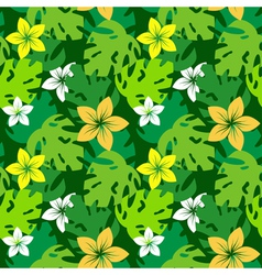 frangipani with monstera leaves pattern vector image vector image