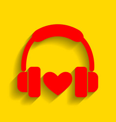 headphones with heart red icon with soft vector image vector image