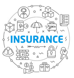 insurance linear vector image